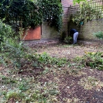 Volunteer clearing away overgrown plants from the garden